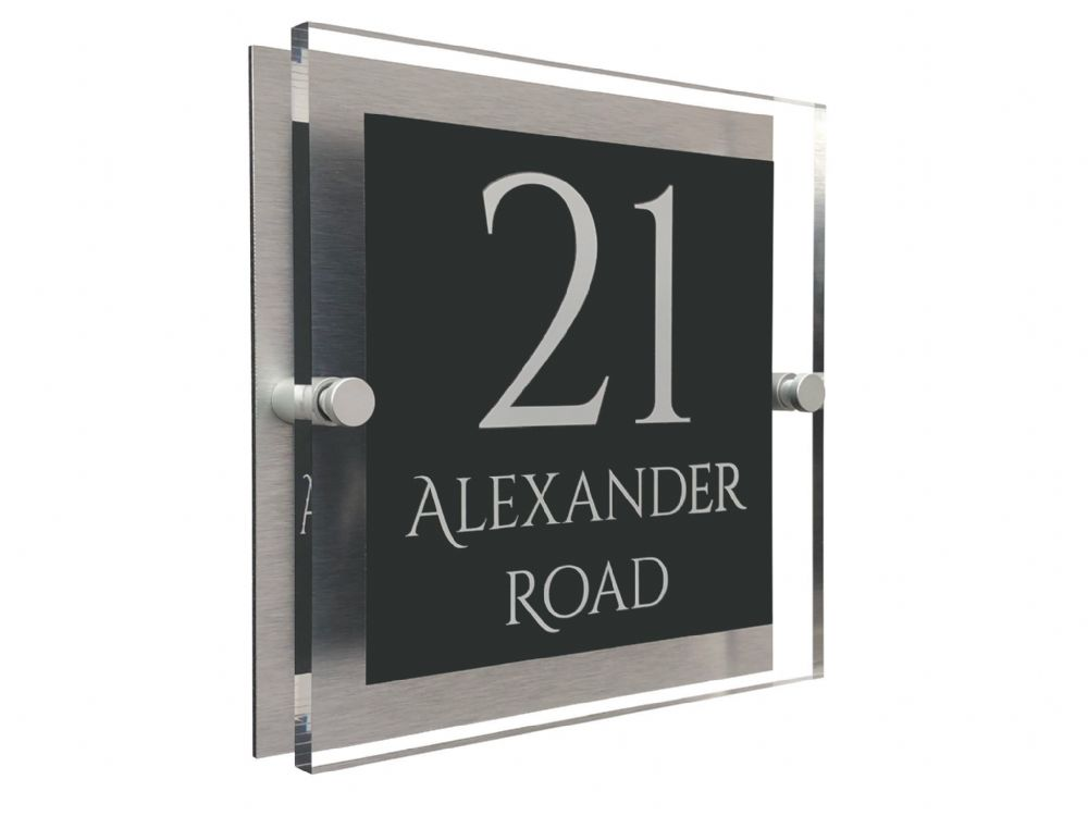 Block Shape - Clear Acrylic House Sign - Anthracite Colour with White text in Font  1